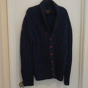 Eddie Bauer shawl collar blue cardigan